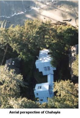 Aerial View of Ch-ahayis Beach House in Tofino
